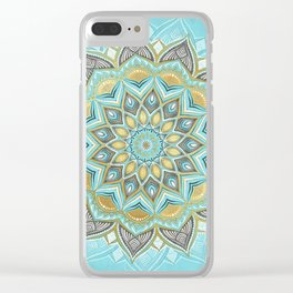 Cyan & Golden Yellow Sunny Skies Medallion Clear iPhone Case