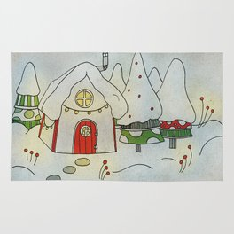 Winter cottage Rug