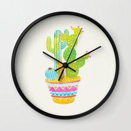 Bright cactus art. Colourful pot of plants. Wall Clock