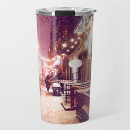 Winter Night with Snow in the East Village New York City Travel Mug