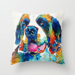 Colorful Saint Bernard Dog by Sharon Cummings Throw Pillow