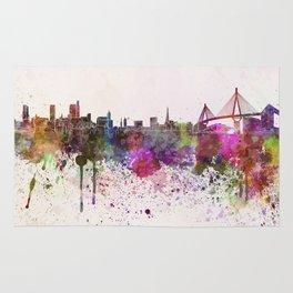 Hamburg skyline in watercolor background Rug