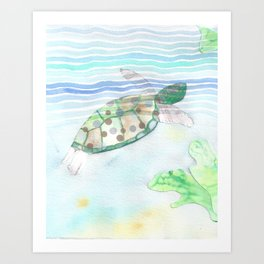 Sea Turtle Underwater Art  Art Print