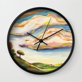 Color clouds in the valey Wall Clock