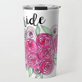 Bride Wedding Pink Roses Watercolor Travel Mug