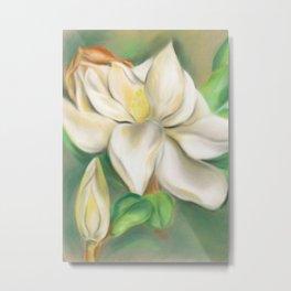 Southern Magnolia Blossom and Bud Metal Print