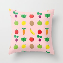 A Cute Concoction of Fruit and Vegetables. Vegan Heaven! Throw Pillow