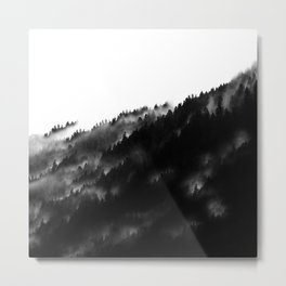 Black and White Fog Forrest Metal Print