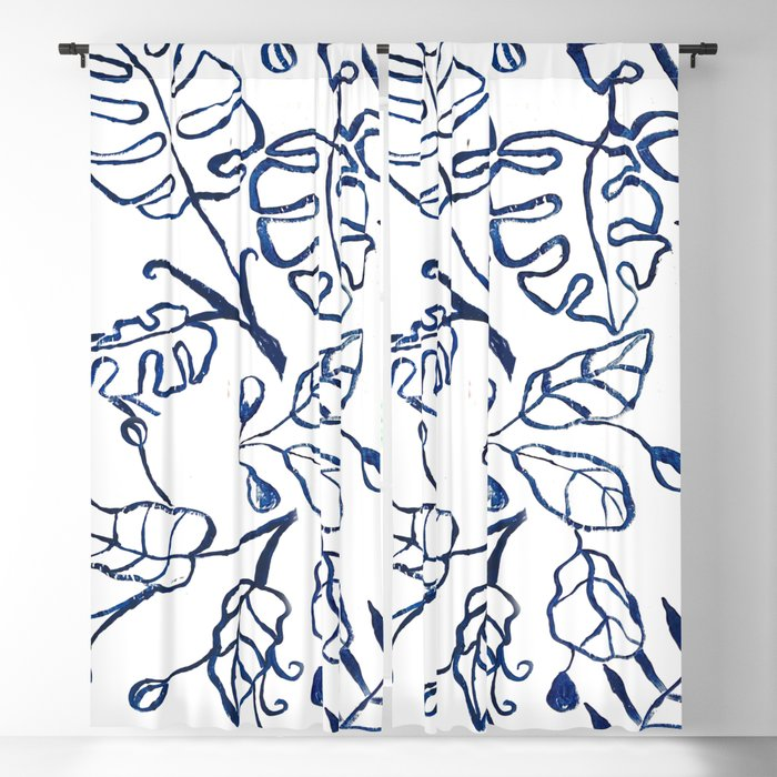 Tropical Plant Boho Chinoiserie Blue and White Blackout Curtain