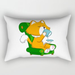 Cat drinking tea Rectangular Pillow