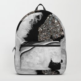 Gray Black White Agate with Silver Glitter #1 #gem #decor #art #society6 Backpack