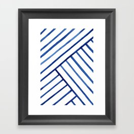 Watercolor lines pattern | Navy blue Framed Art Print