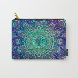Aqua and Violet Mandala Lace Carry-All Pouch
