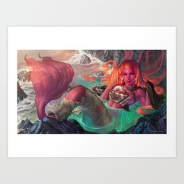 Mermaid and torn sails Art Print