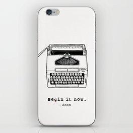 Begin It Now: Retro Typewriter Artwork iPhone Skin