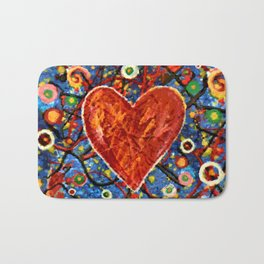 Abstract Painted Heart Bath Mat