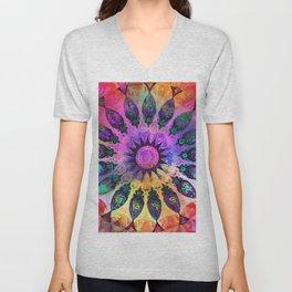 Golden Rainbow Sun Kaleidoscope Unisex V-Neck
