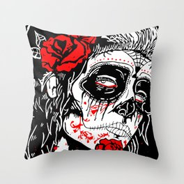 Girl With Sugar Skull, Day of the Dead Throw Pillow