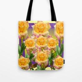 Purple Tinged Golden Yellow Garden Roses Green Art Tote Bag
