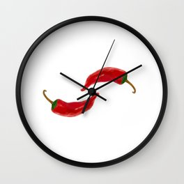 Two red chilies on white Wall Clock