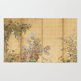 Japanese Edo Period Six-Panel Gold Leaf Screen - Spring and Autumn Flowers Rug