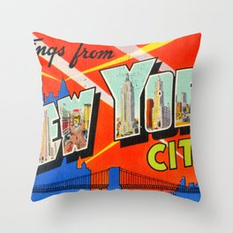 Greetings From New York City Throw Pillow