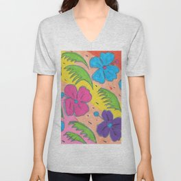 Rainbow Hibiscus and Monstera Leaves Unisex V-Neck