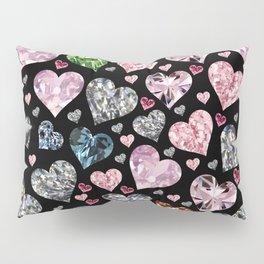 Heart Diamonds are Forever Love Black Pillow Sham