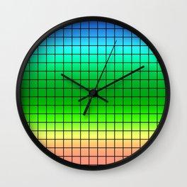 Rainbow plaid #Rainbow #plaid #Ombre #gradient Wall Clock