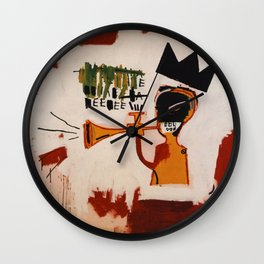 basquiat trumpet Wall Clock