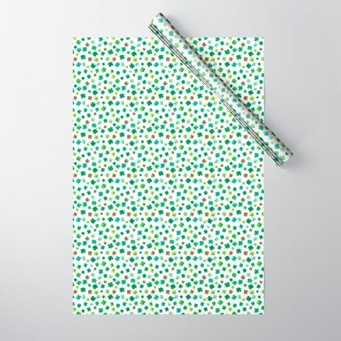 Lucky Watercolor Clovers Wrapping Paper