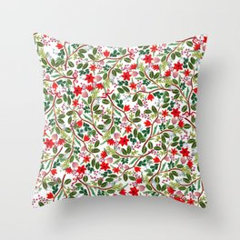 Christmas Floral Pattern Throw Pillow