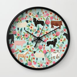 Farm animal sanctuary pig chicken cows horses sheep floral pattern gifts Wall Clock