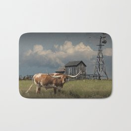 Longhorn Steer in a Prairie pasture by 1880 Town with Windmill and Old Gray Wooden Barn Bath Mat