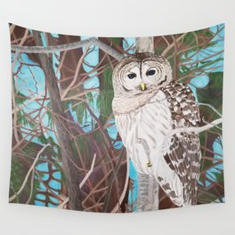 How Blue Your Eyes Do Appear, Barred Owl Wall Tapestry