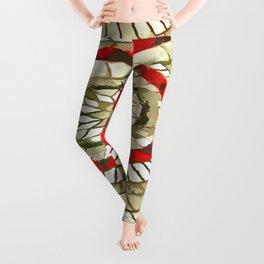 Mosaic Circular Pattern In Red and Gold Leggings