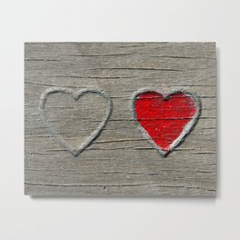 Two Hearts on Wood Metal Print