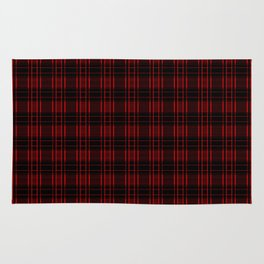Abstract Red Electric Plaid Pattern Rug