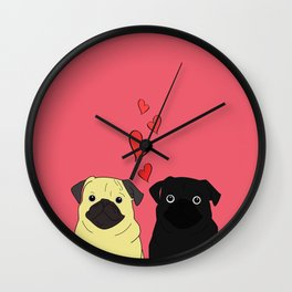 Pugs In Love Pink Wall Clock
