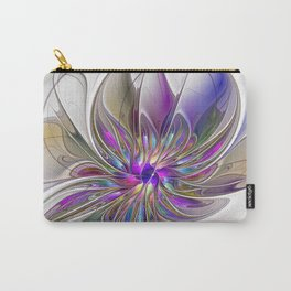 Energetic, Abstract And Colorful Fractal Art Flower Carry-All Pouch