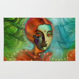 """Exotic woman in green and orange tropical jungle"" Rug"
