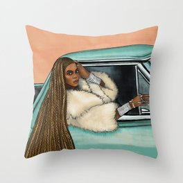 Bey Formation Car Illustration Throw Pillow