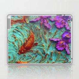 DIMENSIONAL PURPLE IRIS FLOWERS & GOLDEN KOI FISH Laptop & iPad Skin