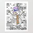 Coloured Snowman by doodlingtogether