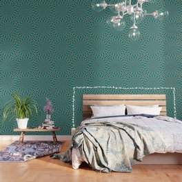 Turquoise Blue Plumage Mandala Kaleidoscope Pattern Wallpaper