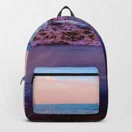 beach sunset with beautiful blue cloudy sky and blue wave in summer Backpack