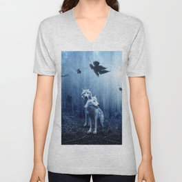 Wolfs in the blue forest Unisex V-Neck