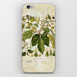 Common Hop Botanical Print on Vintage almanac collage iPhone Skin