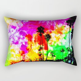 palm tree at the California beach with colorful painting abstract background Rectangular Pillow