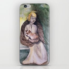 Angel with cat watercolor iPhone Skin